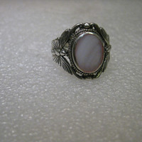 Vintage Sterling Silver Southwestern Butterfly Cigar Band Ring with Oval Mother-of-Pearl Stone, signed JC, sz. 9.5