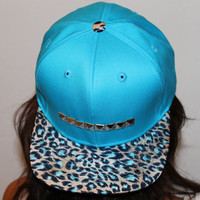 Bright Blue Cheetah Studded Snapback