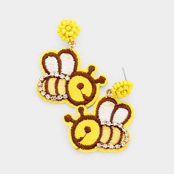 Crystal Pave Trim Honey Bee Embroidery Drop Earrings
