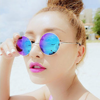 Sunglasses women sun glasses men brand designer summer style vintage steampunk alloy frame round dazzle lens fashion 15 colors