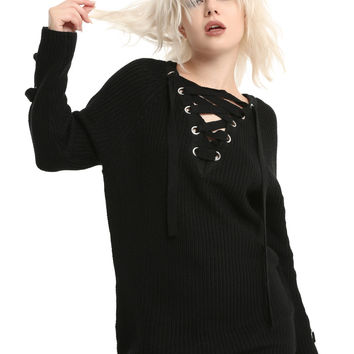 Black Lace-Up Heavy Knit Girls Tunic Sweater