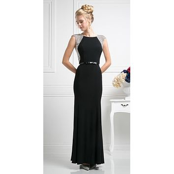 Cap Sleeves Jeweled Long Evening Dress Black