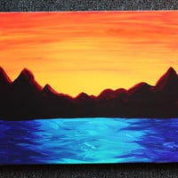 16 x 20 Original Artist Painting on Canvas - Mountain Sunset