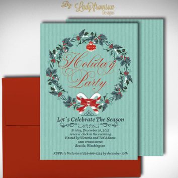 Holiday Wreath Party Invitation, Holiday Seasonal Card, Christmas wreath invitation Templates, Digital Printable |DIY INSTANT DOWNLOAD