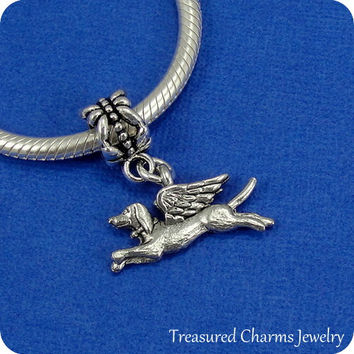 Dog with Angel Wings European Dangle Bead Charm - Silver Dog Remembrance Memorial Charm for European Bracelet