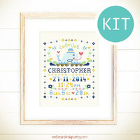 Baby announcement DIY cross stitch KIT - Little Whale with LOVE - Personalized baby boy girl Funny nursery Newborn Baby shower gift present