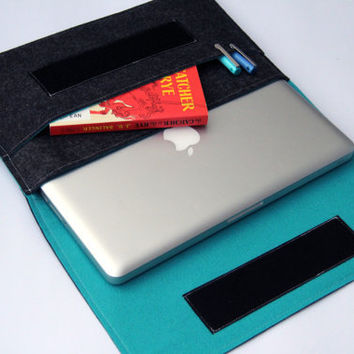 "13"" inch Apple Macbook AIR laptop Organizer Case Cover - Dark Gray & Turquoise - Weird.Old.Snail"