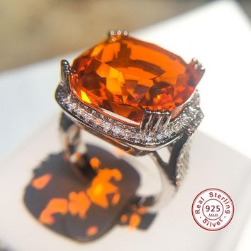 Hot Sale Luxury Exaggerated Orange Big Zircon Ring for Women Fashion Geometric Square Stone Ring Party Jewelry anillos