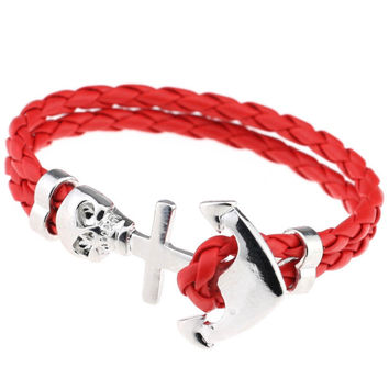 Punk Wrap Skull Bracelet (Red)