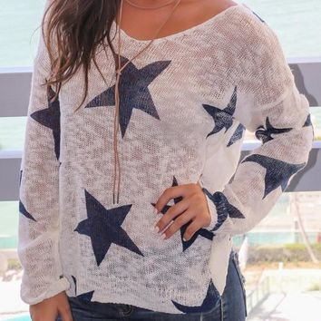 Blue Floral Print Tie Back Round Neck Pullover Sweater
