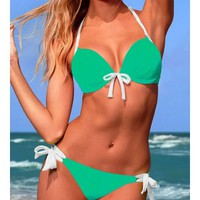 Green Blends Ladies Sexy Halter Beach New Style Bowknot Hot Girl Sexy Bikini S/M/L SY40468-49gr $0.00 in eFexcity.