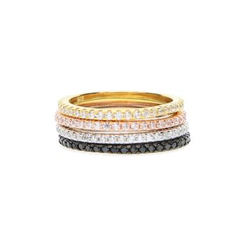 Sterling Silver 925 thin line micro pave cz eternity 3 colors stack 925 silver cz ring