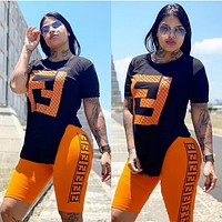 FENDI Hot Sale Woman Casual Print Short Sleeve Top Shorts Set Two Piece Sportswear Orange/Black