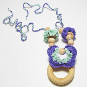 Baby Teether Necklace, Crochet,  Natural Unfinished Wooden Beads