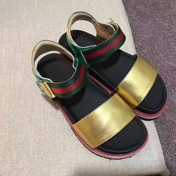 GUCCI Women Trending Fashion Leather Casual Flat Sandal Slipper Gold
