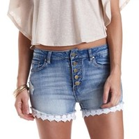Crochet-Trim High-Waisted Denim Shorts - Dark Wash Denim