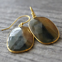 Large Mookaite Jasper Drop Earrings, Blue and Golden Beige Stone Dangles, Brown Natural Stone Earrings