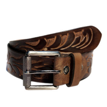 Hand Tooling Mens Designer Leather Belt w/Leaves with Hand Colored