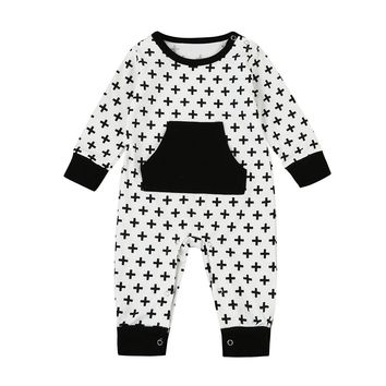 MUQGEW Funny Baby Clothes Cross Print Romper Jumpsuit Outfits Clothes one piece Children Clothing Body Para Bebes QZ06
