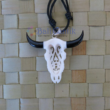 New Design - Tribal Bison Head Bone Pendant, Bone Necklace, Bali Bone Carving, unique handmade jewelry from Bali