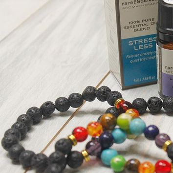 Breathe Ease Essential Oil AND Oil Diffuser Chakra Bracelet Set