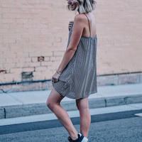 Black Lines Slip Dress