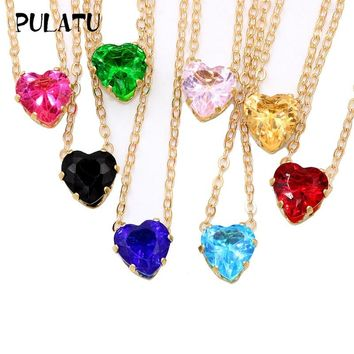 PULATU Statement Heart Necklace Women Crystal Pendants Choker Necklaces Alloy Link Chain Fashion New Jewelry for Ladies XL0808