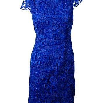 Vince Camuto Women's Illusion-Back Lace Overlay Sheath Dress