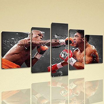 Extra Large Floyd Mayweather Boxing Wall Art Painting On Canvas Print, Extra Large boxing Wall Art, Living Room, Blue