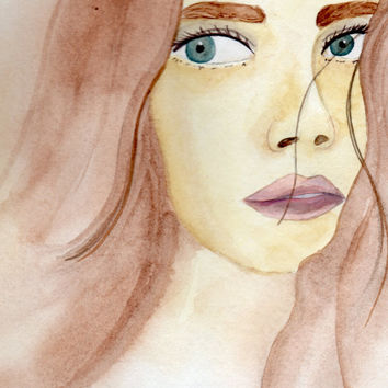 Flowing Hair Watercolor Portrait of a Woman, Painting of a Girl, Portrait of a Brunette
