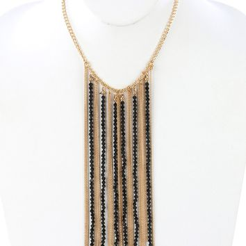 Black Iridescent Glass Bead Long Chain Fringe Bib Necklace