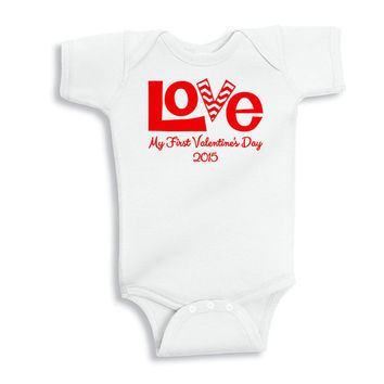 Baby's First Valentine's Day Shirt - Valentine's Day Bodysuit for Baby - My First Valentine's Day Shirt
