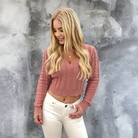 Snow Bunny Mauve Cable Knit Sweater