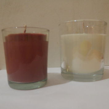 Pomegranate soy jar candle and summer breeze jar candle, soy scented candles