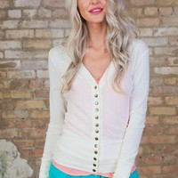 Button Down Cardigan Ivory