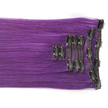 "Royal Purple:  21"" Clip In 100% Human Hair Extensions"