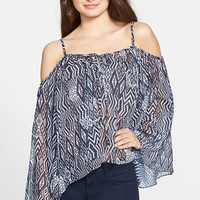 Junior Women's Chloe K Print Cold Shoulder Peasant Top