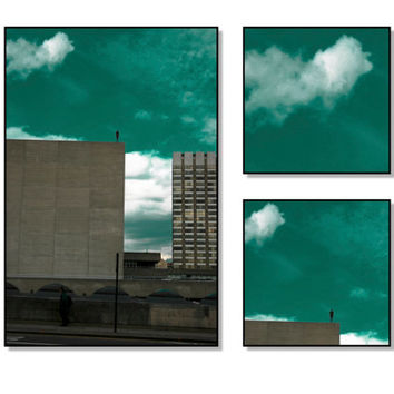 "Art and Architecture Photography, 3 Framed Photograph Set: 14x10, 6x6 and 6x6"", Sculpture Photogrphy, Wall Art, Blue Sky & Clouds Photgraph"