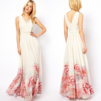 Fashion Sexy Sleeveless Loose Chiffon Long Dress = 1955654276