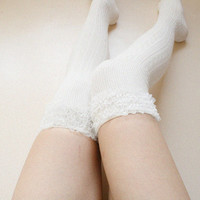 Lace Garter Thigh socks Ivory Over knee Boot socks Leg warmer Valentines day Gift for her