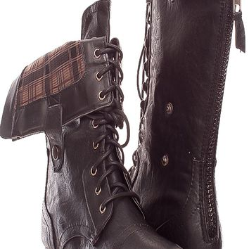 BLACK FRONT LACE CASUAL FOLD OVER FAUX LEATHER BACK ZIPPER BOOTS