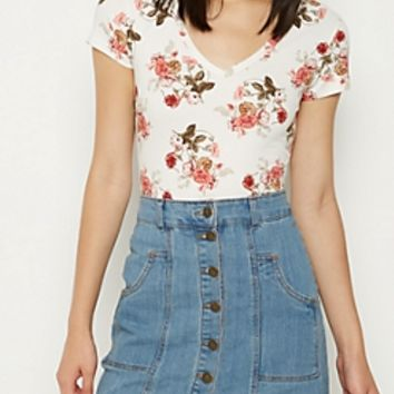 Cream Floral Super Soft V Neck Tee