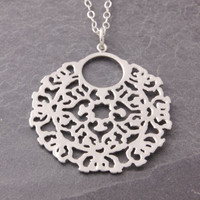 Silver Filigree Pendant, oriental pattern, filigree necklace, round filigree, silver coin necklace, indian style, round filigree charm