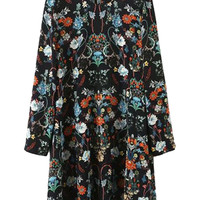 Multi Floral Print Long Sleeve Shift Dress