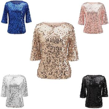 Ladies Blouse Sparkle Shine Glitter Sequin Cocktail Party Tops Fashion Shirt