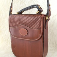 Vintage Brown Leather Crossbody Handbag