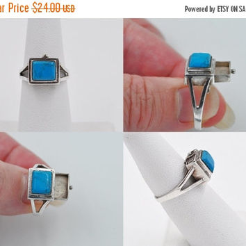 ON SALE Vintage 925 Sterling Silver Prayer Box Ring, Turquoise, Compartment Ring, Poison Ring, Southwestern Style, Size 6, Cool!  #b065