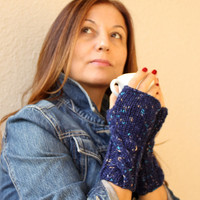 Starry Night Galaxy Blue Fingerless Gloves Winter Fashion Fingerless Mittens Blue Melange Handwarmer