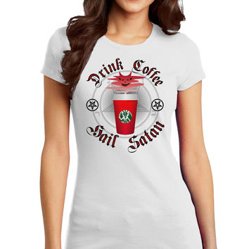 Red Cup Drink Coffee Hail Satan Juniors Petite T-Shirt