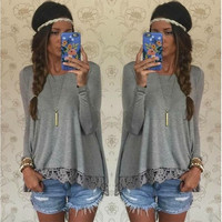 Women Casual Lace Spliced Long-sleeved Irregular Hem T-shirt Blouse